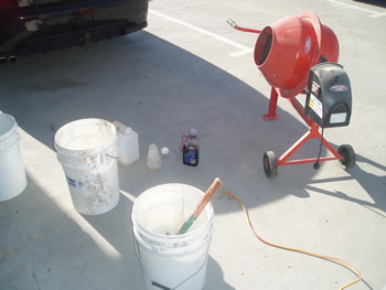 Initial mixing of concrete samples